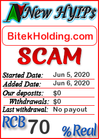 BitekHolding.com status: is it scam or paying