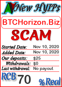 BTCHorizon.Biz status: is it scam or paying