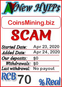 CoinsMining.biz status: is it scam or paying