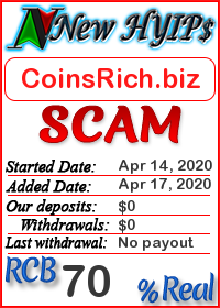 CoinsRich.biz status: is it scam or paying