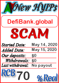 DefiBank.global status: is it scam or paying