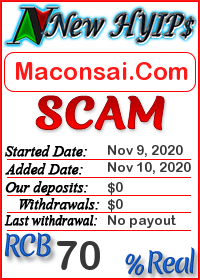 Maconsai.Com status: is it scam or paying